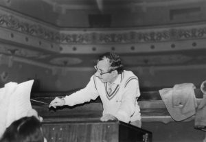 "Rehearsing his children's opera ""Kolobok"" at the Tashkent State Opera Theatre"